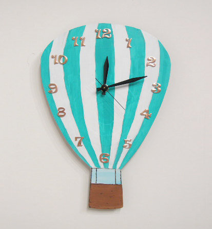 Hot Air Balloon Clock blue and white  Olyteam
