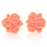 Coral Vintage Lucite Rose Trio Button Post Earrings - Unique Vintage - Homecoming Dresses, Pinup &amp; Prom Dresses.