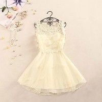 Women's Sweet And Elegant Crochet Butterfly Organza Dress 0826J
