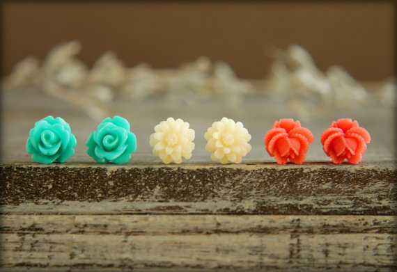 Flower Earring Studs Trio: Teal Rose, Cream Daisy, Watermelon Rose Bud