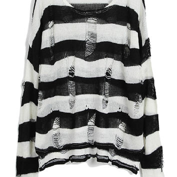 Black And White Stripe Cut Out Knit Sweater