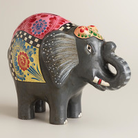 Black Terracotta Elephant - World Market