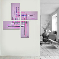 """Original abstract painting. 50x50"""" 4 piece canvas art. Large painting. Lavender painting with purple, pink. Girly painting. Modern wall art"""