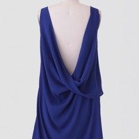 Rue De Provence Draped Dress In Royal