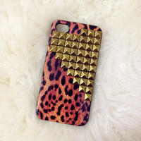 Brass studded leopard iphone 4/4s case