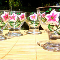 Hand Painted Dessert Bowls With Pink Flowers