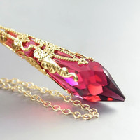 Ruby Necklace 14K Gold Fill Cranberry Raspberry Swarovski Ruby Crystal Necklace Icicle Red Pink Necklace