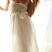 Ballerina- Babydoll Wedding Gown In Chiffon with Lace and Pearl Applique Detailing Simply Romantic