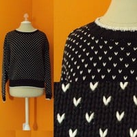 Vintage Sweater. White Mini Hearts. Black. Slouch Ladies Sweater. Liz Wear. 80s. 90s. Slouchy, Heavy, Woven Sweater. Unique Print. Cotton Sweater. Banded. Wide Dolman Style Long Sleeve. sz. M