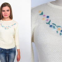 Vintage 80s Sweater / Fitted Sweater / Floral Pointelle Sweater