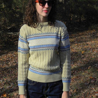 Vtg Tan Cable Knit Sweater Sml