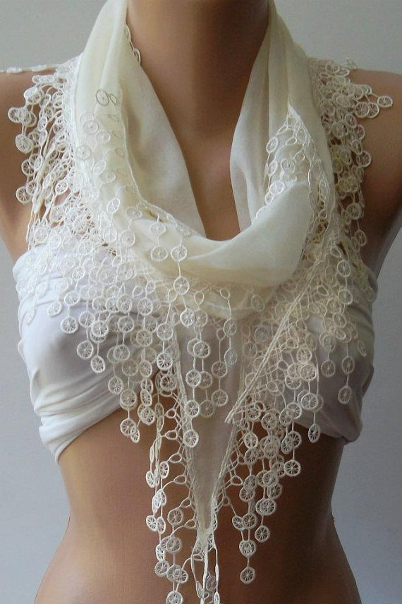 Ivory Beige -- Elegance Shawl / Scarf with Lace Edge,