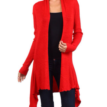 In Style Crochet Knit Long Red Cardigan