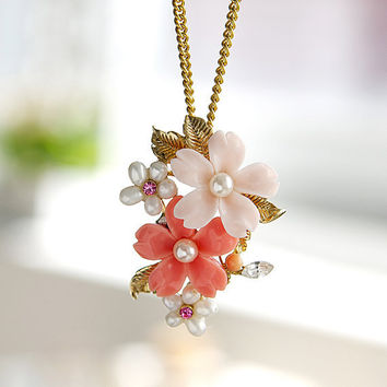 N0002 // Sweet Garden Necklace - Pink // Bridesmaid Gift, Anniversary Gift, Birthday Gift