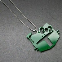 Boba Kitty Green Acrylic Necklace