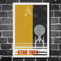 Star Trek retro poster minimalist art movie poster print art poster print 11x17 Tan