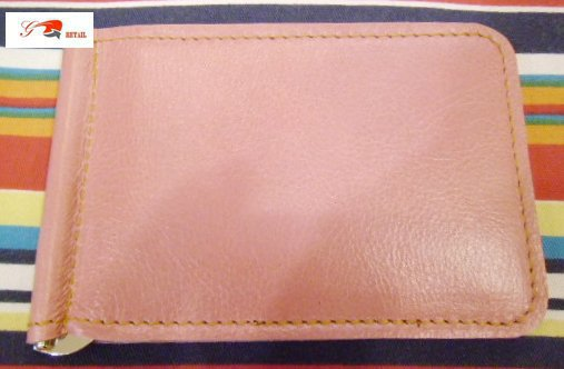 baby pink unisex Leather money clip wallet by brand G2P