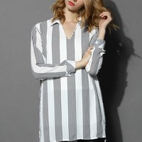 Breezy Striped V-neck Blouse in White White S/M