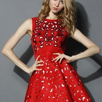 Eternal Charm Beads Cutout Embossed Dress in Red