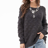 Wavy Knit Raglan Sweater