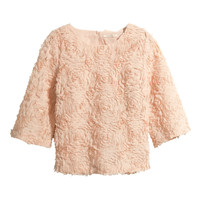 H&M - Blouse with Flowers - Light pink - Ladies