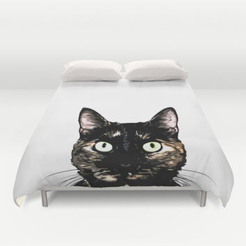 Peeking Cat Duvet Cover by Nicklas Gustafsson