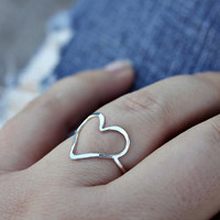 Skinny sterling silver heart ring - dainty ring - hammered ring - simple - love ring - minimalist - thumb ring