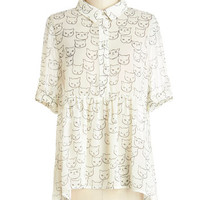 ModCloth Cats Mid-length Short Sleeves Where Purr Art Thou Top