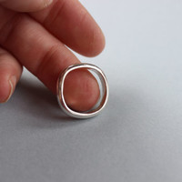 Heavy Gauge Squared Off Sterling Silver Ring Handmade