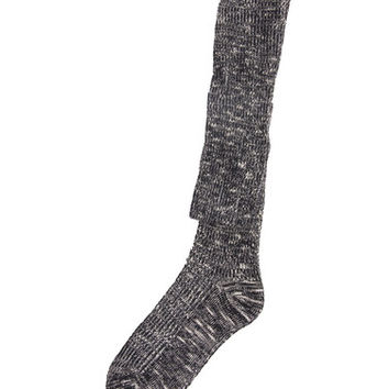 Marled Knit Over-the-Knee Socks - Black / One