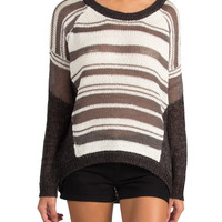 LUSH CLOTHING - STRIPED LOOSE KNIT SWEATER