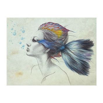 Woman fish surreal art textured Wrapped canvas