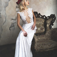 White sheath wedding dress with lace applique bodice
