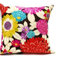 Summer Flower Pillow Case - 18x18 inch Decorative pillow cover, throw pillow cotton case, invisible zipper