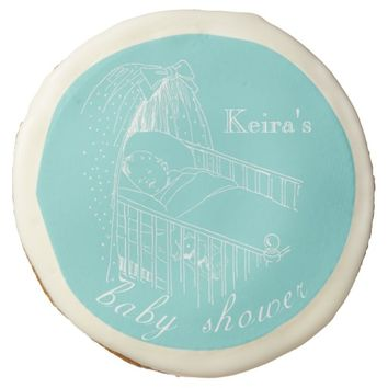 Baby Shower Vintage Aqua Personalized Cookie