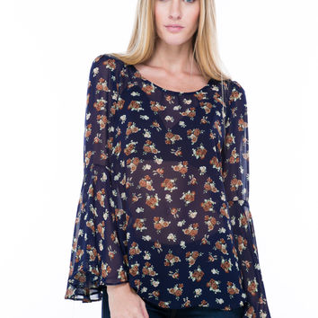 Be There With Bell Sleeves On Floral Top
