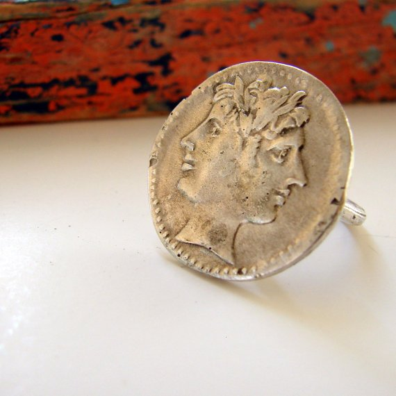 Ancient Roman Janus Ring Sterling Silver
