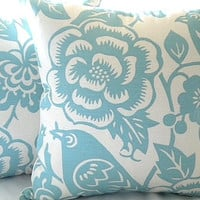"Robin egg blue and ivory  pillow cover - ""18x18"""