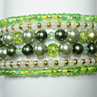 Green Pearls, Crystals and Glass Beads Memory Wire Cuff