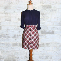 Vintage 80's Tartan Plaid Mini Skirt XXS or XS