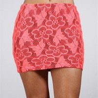 Black/Coral Lace Skirt