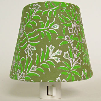 Christmas Night Light - Moss Green Shade Night Light with White Flowers and Lime Green Leaves - Green and White Master Bedroom Decor
