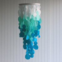Fabric Ombre Hanging Chandelier Wedding Decoration in white, aqua, turquoise, ombre style unique wedding decoration