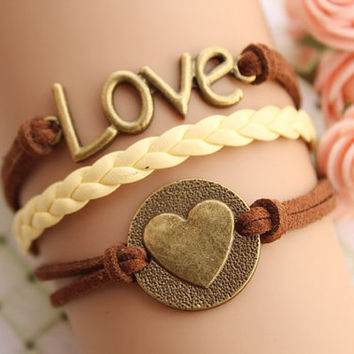 LOVE bracelet,retro bronze love letters with love heart bracelet,yellow braid leather bracelet,brown rope---B091