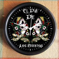 El DIA de LOS MUERTOS  Day of The Dead  Mexican  Mexico Holiday10 inch Resin Wall Clock