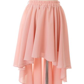 Peach Asymmetric Waterfall Skirt with Stretch Waist
