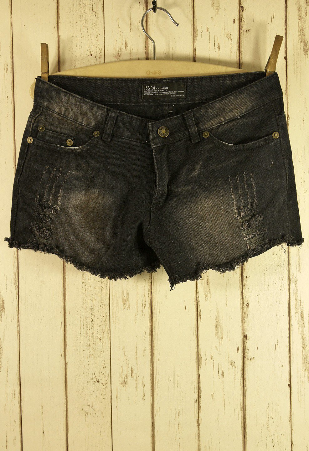 Black Cutoff Erosion Washed Denim Shorts
