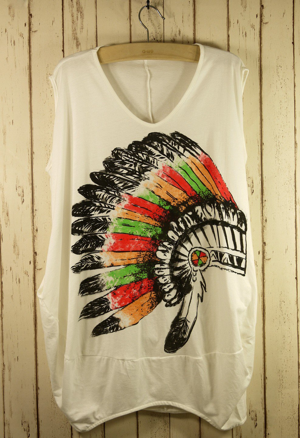 Sleeveless Indian Print Oversized T-Shirt