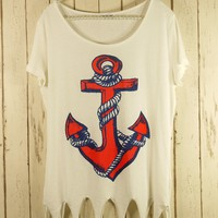 Short Sleeve Anchor Print Shear T-Shirt