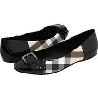 Burberry Nova Check Round Toe Ballerina (Black) - Flats